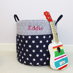 Personalised Blue Large Quilted Toy Bag - storage