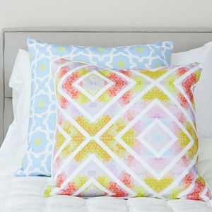 Geometric Contrast Multicolour Cushion