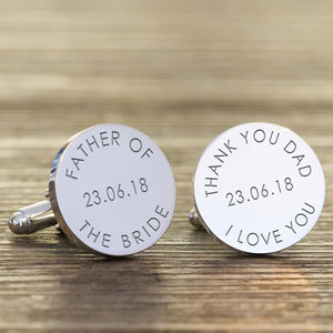 Personalised 'Father Of The…' Wedding Cufflinks - wedding thank you gifts