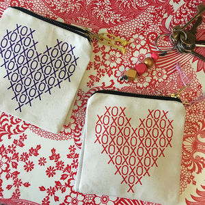 Hugs And Kisses Heart Screenprinted Purse - women's accessories