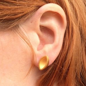 Gold Ellipse Stud Earrings