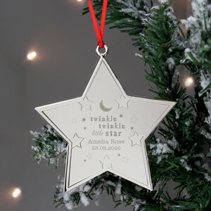 Engraved Baby's First Christmas Twinkle Star Decoration