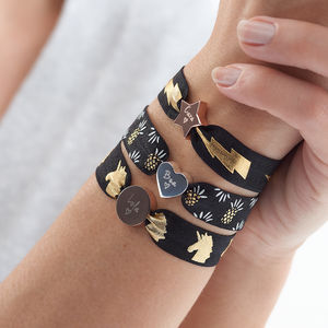 Personalised Printed Metallic Stretch Bead Bracelet - bracelets & bangles