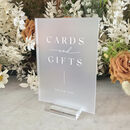 Frosted Acrylic White Ink Cards And Gifts Wedding Sign