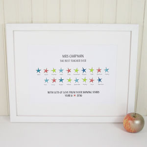 Personalised Shining Stars Teacher's Print - gifts for teachers