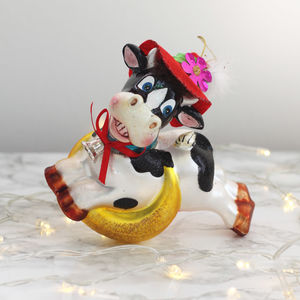 Kitsch Cow And Moon Glass Christmas Decoration - christmas sale