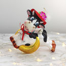 Kitsch Cow And Moon Glass Christmas Decoration