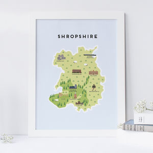 Map Of Shropshire - posters & prints