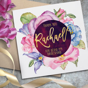 Personalised Flower Watercolour Card - bridesmaid cards
