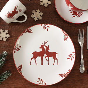 Set Of Four Red Reindeer Christmas Dinner Plates - sale