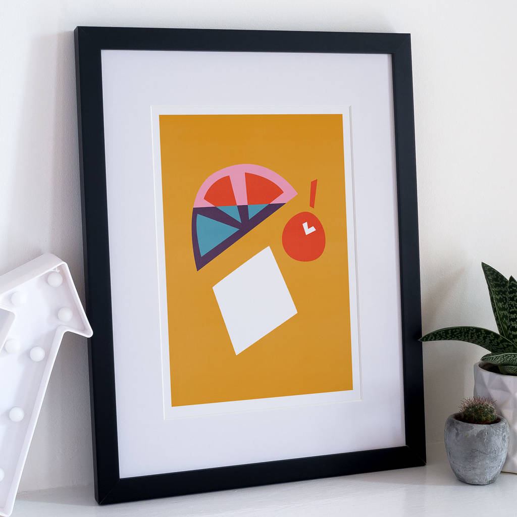 Orange Cherry Cocktail Print