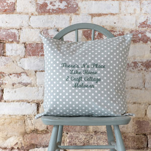 Personalised Embroidered Cushion Madelaine Sage Spot - bedroom