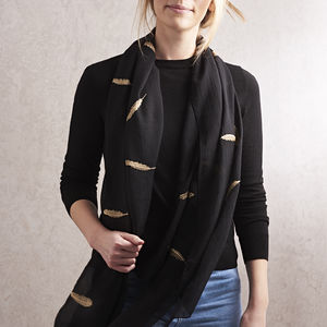 Black And Gold Feather Print Scarf With Gift Box