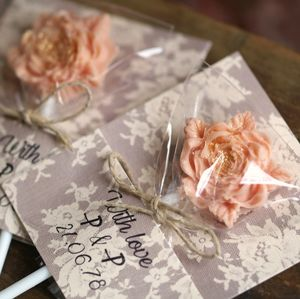 Personalised Rose Lollipops Wedding Favours Lace Wraps - wedding favours