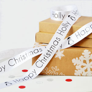 Kid's Christmas 25mm Personalised Printed Ribbon - cards & wrap
