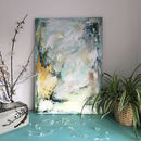Abstract Pastel Blue Green Painting On Canvas