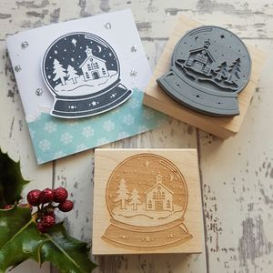 Christmas Church Snowglobe Rubber Stamp - diy & craft