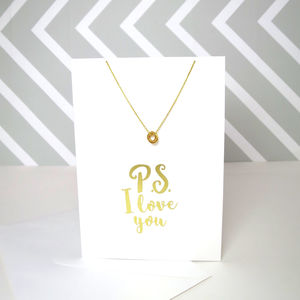 Gold Foil P.S I Love You Card And Necklace Set