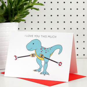I Love You This Much Valentine's Day Dinosaur Card