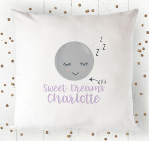 Personalised Sleepy Moon Sweet Dreams Cushion Cover