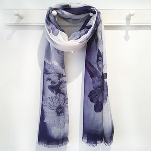 Indigo Blue Floral Peony Scarf With Gfit Box And Card
