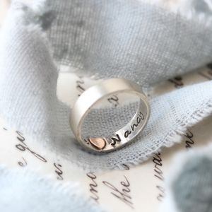 Heart Imprint Personalised Ring - men's jewellery