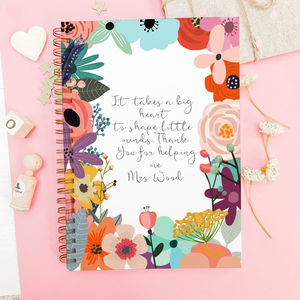 Personalised Thank You Notebook For Teachers 'Flowers'