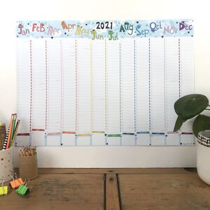 2021 Large Rainbow Bug Wall Planner Calendar