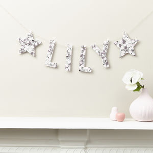 Personalised Name Banner Liberty Mitsi Fabric And Card - room decorations