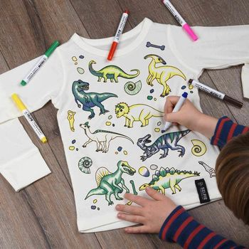 Personalised Dinosaur Colour In Top With Fabric Pens