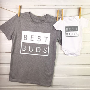Best Buds Father And Son Matching T Shirt Set - babies' dad & me sets
