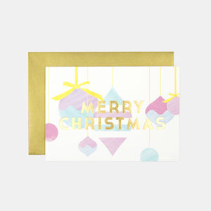 Merry Christmas Baubles Greeting Card