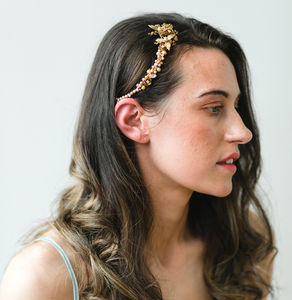 Apollonia Gold Pearl Leaf Bridal Headpiece - bridal hairpieces