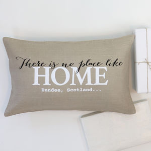 Personalised Linen Cushion Home With Address