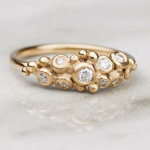 18ct Gold Diamond Pebble Cluster Ring