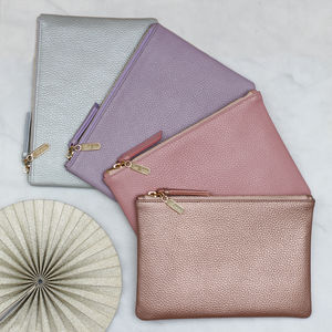 Personalised Luxury Leather Pastel Clutch
