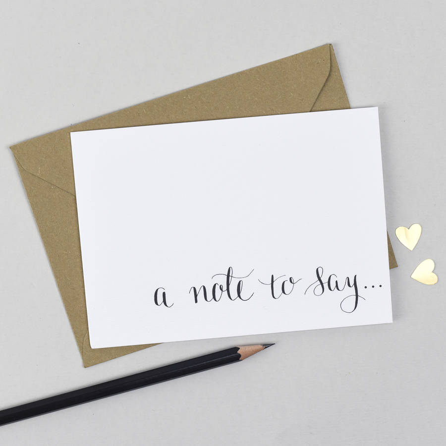 'A Note To Say' Notecard