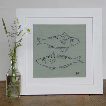 Mackerel Embroidered Picture