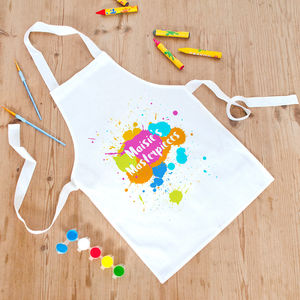 Personalised 'Masterpieces' Children's Messy Play Apron - kitchen