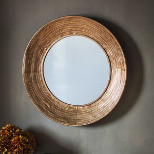 Round Copper Wall Mirror - bedroom
