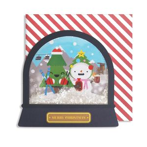 Christmas Skiing Snow Globe Card