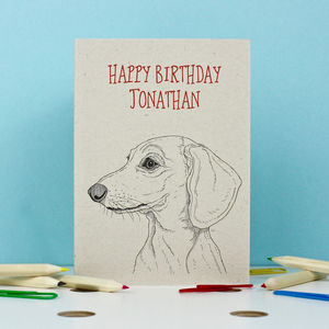 Dachshund Birthday Card - summer sale