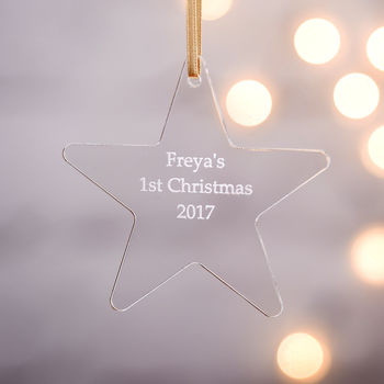 Personalised Baby's First Christmas Star Decoration