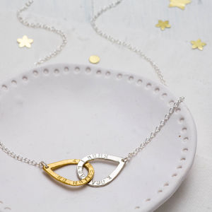 Personalised Entwined Teardrop Necklace - 25th anniversary: silver