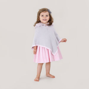 Girls Designer Striped Poncho - clothing