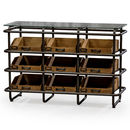 Industrial Metal And Wood Wide Shelf Cabinet