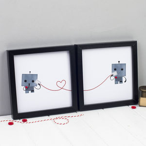 Set Of Two Robot Love Prints