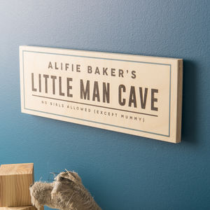 Personalised 'Little Man Cave' Wooden Sign - signs