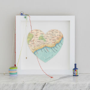 Personalised Location Marbella Map Heart Print