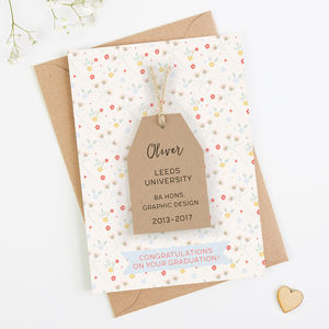 Personalised Graduation Card Ditsy Floral